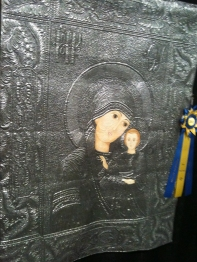 Metallic Madonna - can you imagine quilting on silver spandex?