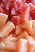 Cut Watermelon and Canteloupe
