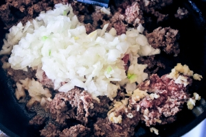 Browning beef, garlic, and onions for lumpia
