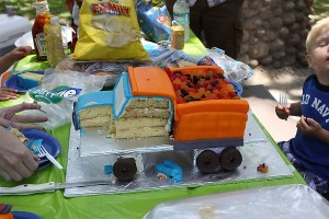Blue and Orange Dump Truck Cake