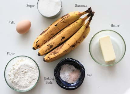 Ingredients for Easy Banana Bread
