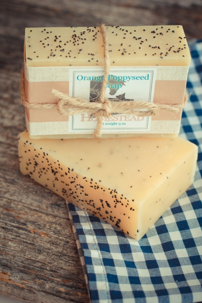 Cold process soap Orange Poppy seed