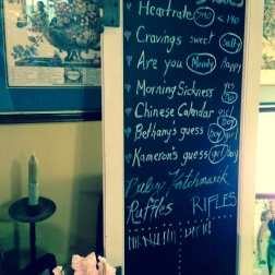 Chalkboard with Old Wives' Tales for Baby Gender