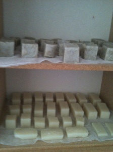 Here are Yvonne's and my very first batches of soap. Orange Clove and Lavender Oatmeal. We were so proud! :)