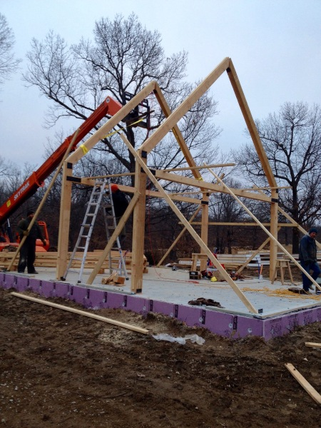 Timber frame cabin construction